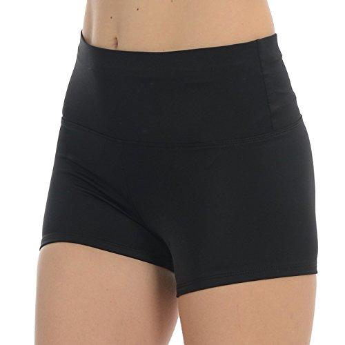 Anza Girls High Waist Dance Booty Shorts-Black,Small