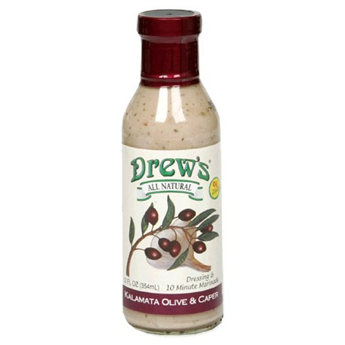 Drew's All-Natural Salad Dressing and 10 Minute Marinade, Greek Olive and Caper, 12-Ounce Bottle by Drew's All Natural
