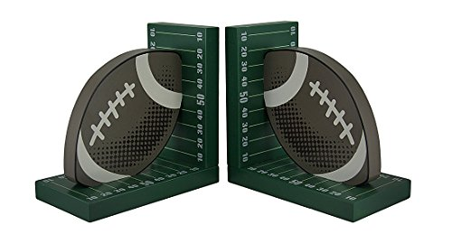 Zeckos Wood Decorative Bookends Football And Field Wooden Bookend Set 7 X 7 X 4 Inches Green