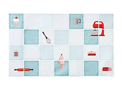 TBOP Home Aluminum foil Smoke-Proof high Temperature Oil Proof Wallpaper Kitchen Stove Tile Wall Waterproof Stickers Zizi Baker Size 74 * 45cm in Sea Green Color