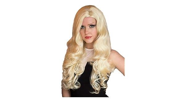Annabelle de las pelucas Extra larga de, de la luz rubia de pelo ondulado con mechas, lateral de picos cuidado de la peluca: Tia 250 G: Amazon.es: Belleza