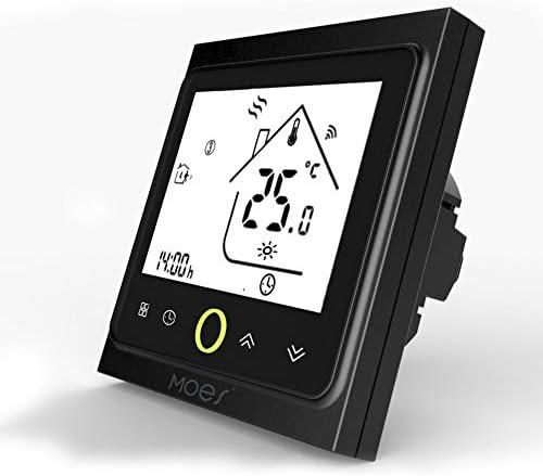 MOES Smart Thermostat WiFi Temperaturregler Smart Life/Tuya APP Fernbedienung für elektrische Heizung 5 + 1 + 1 Programmierbar , Kompatibel mit Alexa Google Home 16A(Schwarz)