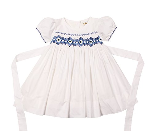 Hand Smocked Bishop Dress (Babeeni Dresses For Girls White Featured With Hand-Smocked Geometric Patterns On Chest, Shortsleeves and Back Buttons (6Y))