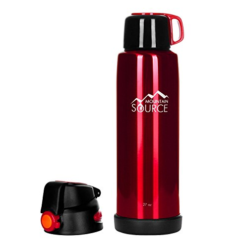 Mountain Source 27oz Thermos Stainless Steel BPA-free Insulated Water Bottle (Red)