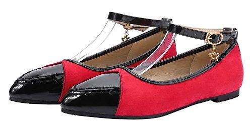 Amoonyfashion Donna A Punta Bassa Tacco Basso Fibbia In Pu Colore Assortito Scarpe-rosso