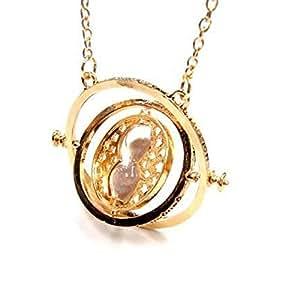 Aofocy Harry Potter Turner Time Turner Wizard Hermione Colgante del collar de arena con un collar de accesorios de disfraces de reloj de arena