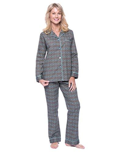 Noble Mount Womens 100% Cotton Poplin Pajama Set - Shamrock Grey/Aqua - Medium