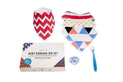Baby Bandana Bibs (4-pack) by PallMier | Soft Absorbent Gender Neutral Drool Bibs + Ergonomic Silicone Spoon + Soothing Pacifier for Boys and Girls Holiday - Face Triangle Shaped