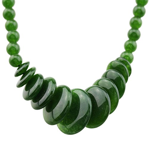 FOY-MALL 6-20mm Fashion Russian Nephrite Graduated Bead Necklace XL1276M]()