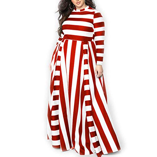 - Women Plus Size Dresses for Weeding Guest red and White Mosaic Stripes Middle-Waist Dresses for Women Loose fit Maxi Long Dress (red XL)