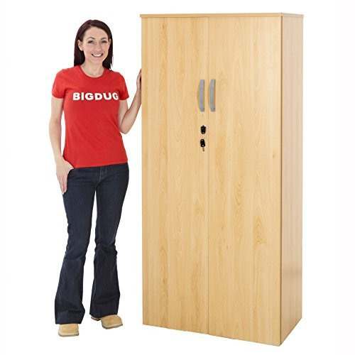 Beech Office Cupboard Storage Lockable Cabinet Home Filing Shelving 3 Sizes (4 Shelves - Beech) by BiGDUG