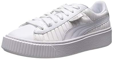 PUMA Women's Basket Platform En Pointe Wn Sneaker, White, 10 M US