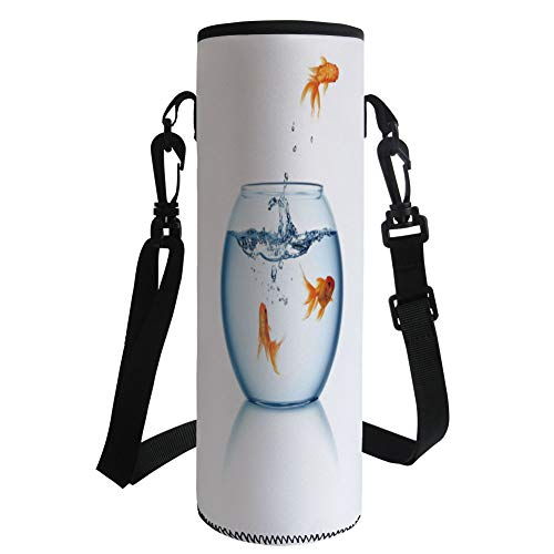 iPrint Water Bottle Sleeve Neoprene Bottle Cover,Aquarium,Goldfish Jumping Out the Fishbowl Freedom Escape Challenge Bravery Theme Decorative,Blue Orange White,Great Stainless Steel Plastic/Glass by iPrint