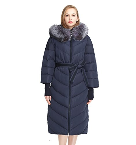 BASIC EDITIONS Women's Winter Extra Long Down Parka With Fox Fur Hood ()