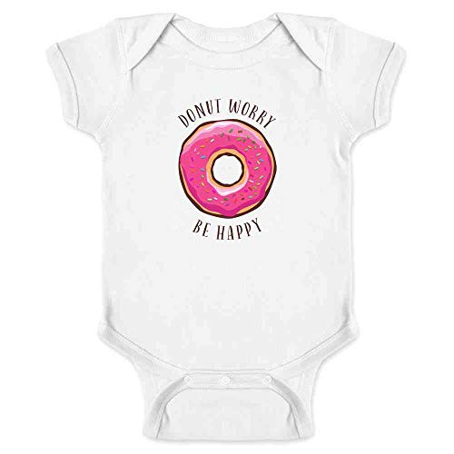Pop Threads Donut Worry Be Happy Funny Pun Cute White 6M Infant Baby Boy Girl Bodysuit