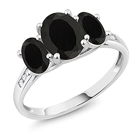 10K White Gold Diamond Accent Oval Black Onyx 3-Stone Ring 2.03 Ct, Available in size (5,6,7,8,9) (Oval Cut Black Onyx Ring)