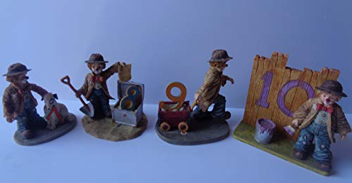 - EMMETT KELLY Vintage Set of 4 Birthday Girl Hobo Clown Collection with Original Boxes