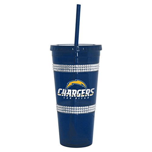 rs Double Bling Straw Tumbler, 22-ounce (San Diego Chargers Tumblers)