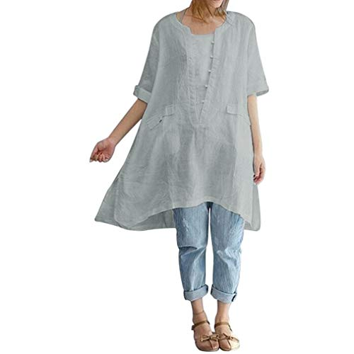 Clearance!Youngh 2018 New Womens Vintage Blouses Plus Size Solid Patchwork Blouses Irregular Button Long Loose Short Sleeve Linen Fashion Blouse T Shirt Tops by Youngh Top