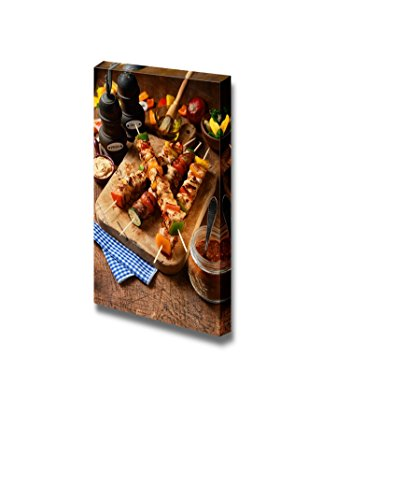 Canvas Wall Art - Delicious Barbecued or Grilled Meat Kebabs with Onion and Colorful Bell Pepper | Modern Home Decor Canvas Prints Gallery Wrap Giclee Printing & Ready to Hang - 48