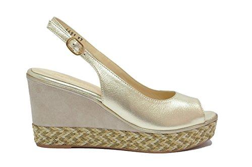 Melluso Sandali zeppa platino scarpe donna R7900