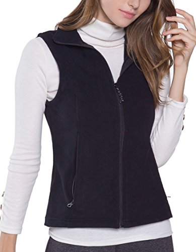 Oalka Women's Spring Fall Full Zip Fleece Vest Black (Black Fleece Vest)