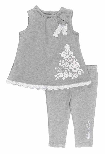 Calvin Klein Baby-Girls Newborn Tunic with Leggings, Gray, 6-9 Months