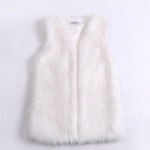 Chaleco corto de invierno para mujeres, de imitación de piel, sin manga, negro, X-Large Blanco