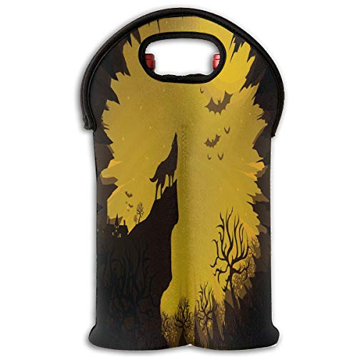 Red Wine Sets Happy Halloween Red Wine Tote Bag Cooler 2 Bottle Champagne Gift Bag for $<!--$16.00-->