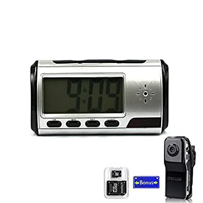 Eyeclub Hidden Camera Alarm Clock Improved Version Spy Cam[with One More Mini DV and 8GB Micro SD Card], Silver
