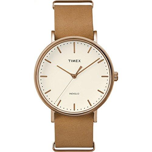 Timex Unisex TW2P91200 Fairfield 41 Brown Leather Slip-Thru Strap Watch from Timex