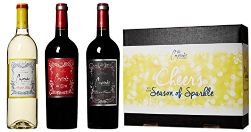 Cupcake Vineyards The Season of Sparkle Wine Blends Gift Box, 3 x 750 mL