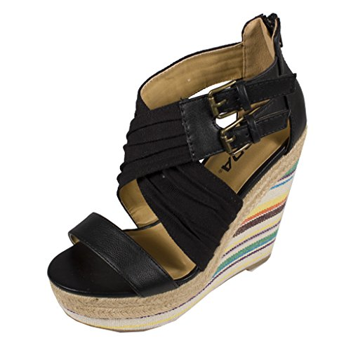 Lustacious Women's Ruched Criss Cross Overlaped Strappy Open Toe Platform Wedge Sandals with Espadrille Trim, black cotton, 7.5 M - Toe Trim Open