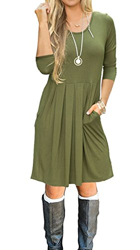 Dress Shirt Sleeve Length (SouqFone Women's Pleated Loose Swing Casual T-Shirt Dress With Pockets Knee Length(3/4 Sleeve-Army Green,S))