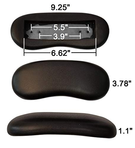 Replacement Office Chair Armrest Arm Pads Kidney Shaped (Set of 2)