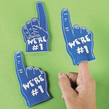 Dozen Blue Mini Foam Fingers -