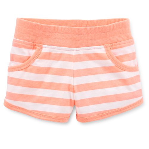 Carter's Girls Cotton Knit Striped Shorts (5 Youth, Coral Peach)