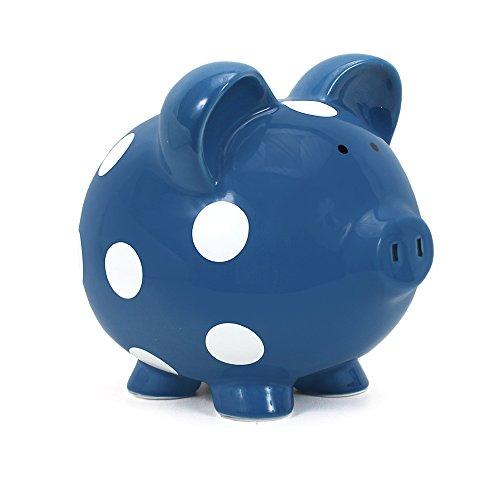 Boy Ceramic - Child to Cherish Ceramic Polka Dot Piggy Bank for Boys, Dark Blue