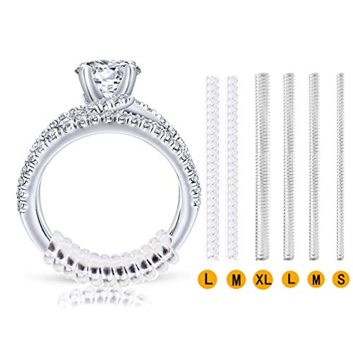 Invisible Ring Size Adjuster for Loose Rings - Ring Guard, Ring Sizer, 6 Sizes Fit Almost Any Ring. [12pcs] ()