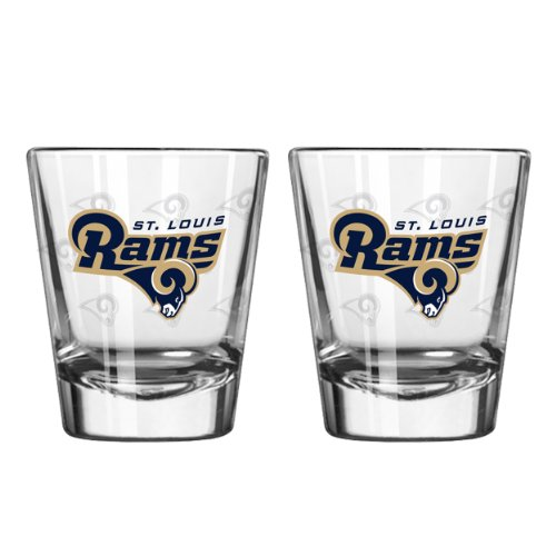 (Boelter Brands NFL Los Anegles Rams Shot GlassSatin Etch Style 2 Pack, Team Color, One Size)