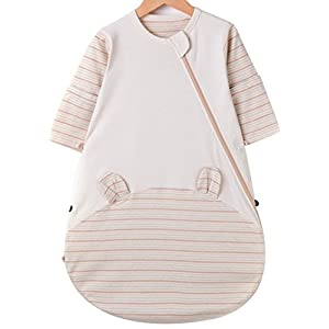 OuYun Baby Organic Sleeping Bag Detachable Sleeve Wearable Blanket, Single Layer(77-95℉)