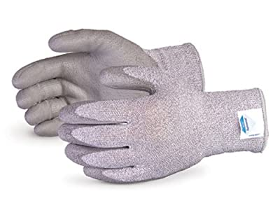 Superior S13FGPUSF Superior Touch Dyneema/Fiberglass/Nylon Silicone Free String Knit Glove with Polyurethane Coated Palm, Work, Cut Resistant, 13 Gauge Thickness, Size 6, Gray (Pack of 1 Pair)