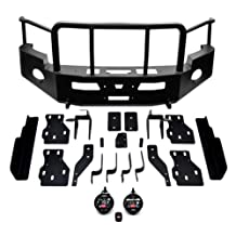 WARN 76401 Heavy Duty Front Bumper with Grille and Brush Guards - Black