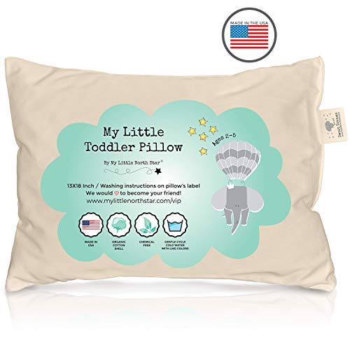Crib Pillow (Toddler Pillow - ORGANIC Cotton MADE IN USA - Washable Unisex kids pillow - 13X18)