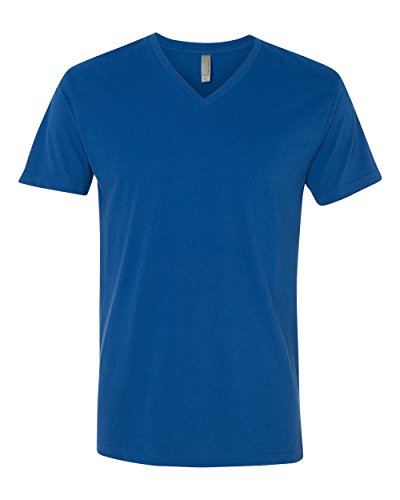 Next Level Apparel 6440 Mens Premium Fitted Sueded V-Neck Tee - Cool Blue, Large