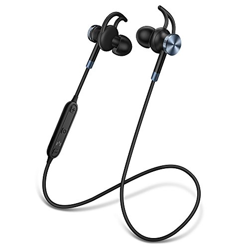 Bluetooth Headphones V4.2 Magnetic Wireless Sweatproof Earbuds with Mic Noise Cancelling Headsets for Running for iPhone and Android (Black)