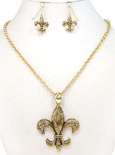 Jewelry Nexus Antique Fleur De Lis Gold-tone Woven Texture Necklace & Earring Set