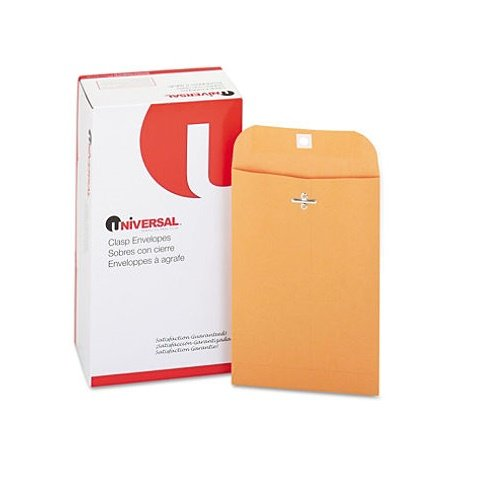 (Universal Products - Universal - Kraft Clasp Envelope, Side Seam, 28lb, 6 x 9, Light Brown, 100/Box - Sold As 1 Box - Heavyweight Kraft stock. - Reinforced eyelet and two prong clasp. - Gummed flap.)