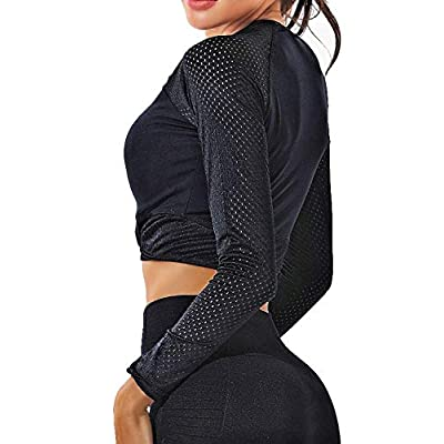 Women's Yoga Gym Crop Top Compression Workout Athletic Long Sleeve Shirt at Women's Clothing store