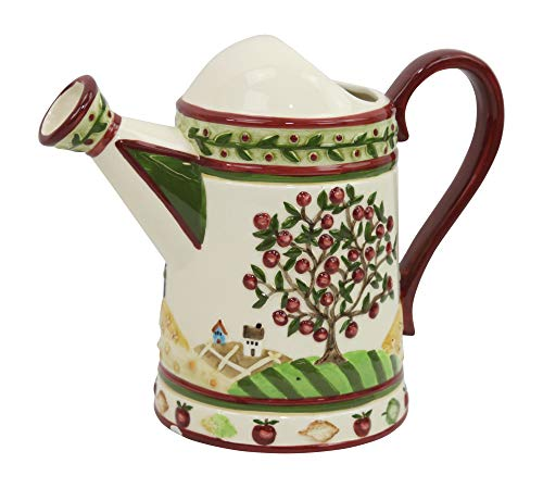 Ganz Bella Casa Ceramic Apple Tree Pattern Watering Can Pitcher ()